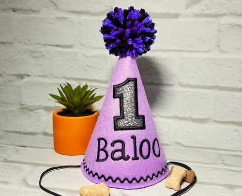 Dog Birthday Hat Personalized Lilac & Black for 1st Birthday, Gotcha Day