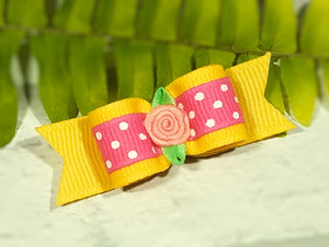 "5/8"" Dog Bow - Pink Lemonade, Yellow and Hot Pink Dots with Pink Ribbon Flower"