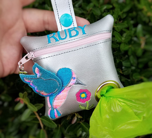 Dog Poop Bag Holder with 3D Hummingbird Personalized, Waste Bag Dispenser, Pet Waste Bag Holder, Dog Leash Accessory