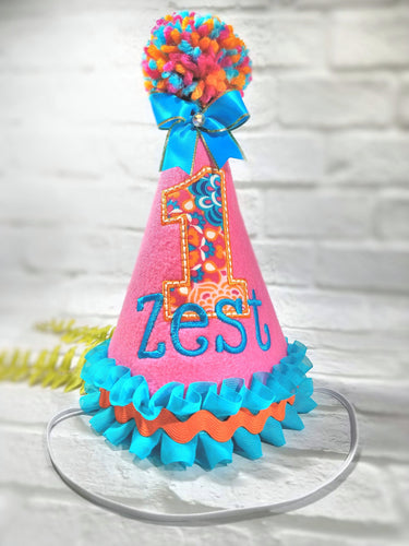 Candy Pink Pet Party Hat with Turquoise Trim