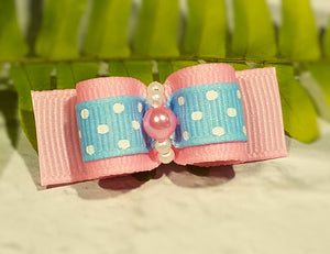 "5/8"" Dog Bow - Pink Grosgrain with Light Blue Dots and Pink Pearl"