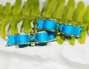"3/8"" Dog Bow - Fancy Turquoise & Gold with Crystal Rhinestone"