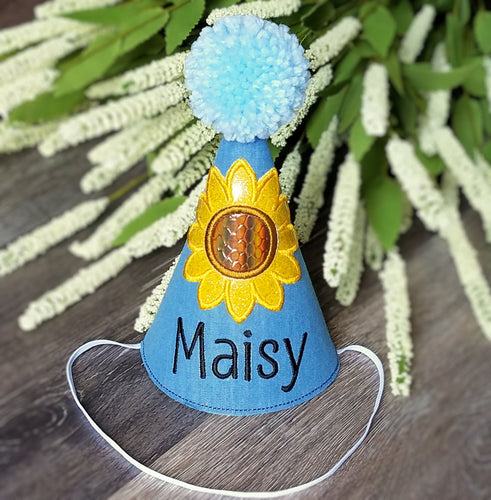 Sunflower Dog Birthday Hat in Denim Blue for Fall Birthday, 1st Birthday, Gotcha Day