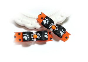 "3/8"" Dog Bow - Black Halloween Paws with Rhinestones"
