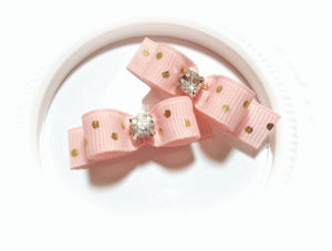 "3/8"" Dog Bow - Light Pink with Gold Dots and Rhinestone Center"