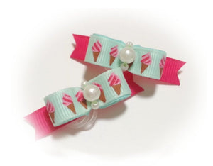 "3/8"" Dog Bow - Tiny Aqua Ice Cream Cones with White Pearls"