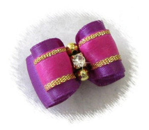"5/8"" Dog Bow - Purple Satin with Raspberry & Gold, Rhinestone and Beads"