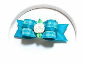 "5/8"" Dog Bow - Turquoise Plaid with White Ribbon Flower"