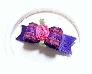 "5/8"" Dog Bow - Purple/Pink Plaid with Hot Pink Ribbon Flower"