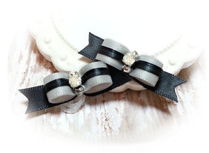 "3/8"" Dog Bow - Silver and Black Satin Ribbon with Rhinestone"
