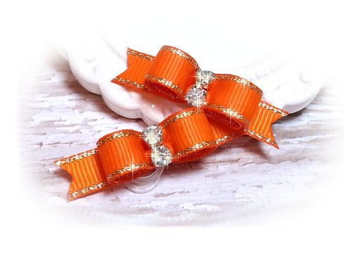 3/8 Dog Bow - Orange Grosgrain Ribbon with Silver Edges and Rhinestones