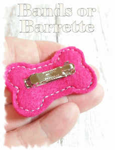 Personalized Dog Hair Bow - Bone Shape Yellow/Fuchsia with Ribbon Rose