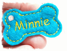 Load image into Gallery viewer, Personalized Dog Hair Bow - Bone Shape Turquoise/Yellow with Rhinestone