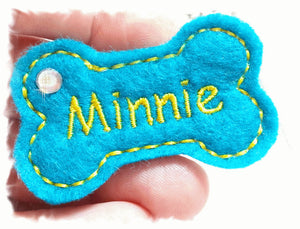 Personalized Dog Hair Bow - Bone Shape Turquoise/Yellow with Rhinestone