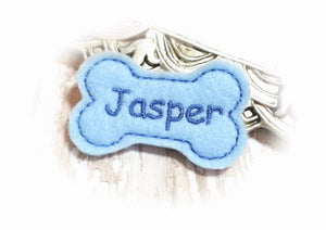 Personalized Dog Hair Bow - Bone Shape Light Blue/Blue Embroidery