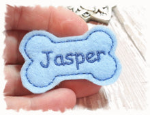 Load image into Gallery viewer, Personalized Dog Hair Bow - Bone Shape Light Blue/Blue Embroidery