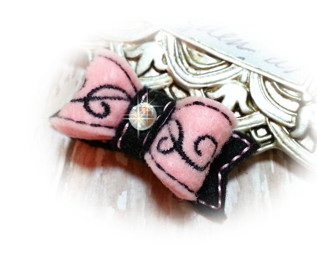 Embroidered Dog Bow - Pink and Black Swirls with Rhinestone