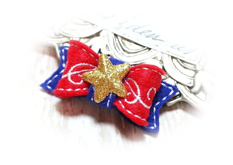 Embroidered Dog Bow - Patriotic Swirls, Red, White Blue with Gold Star