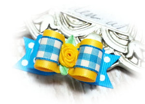 "5/8"" Dog Bow - Sky Blue Dots with Yellow and Gingham, Yellow Ribbon Flower"