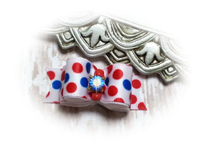 "5/8"" Dog Bow - USA Patriotic Red, White and Blue Dots with Blue Rhinestone"