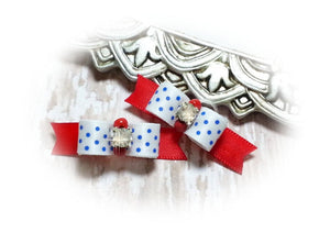 "3/8"" Dog Bow - Patriotic White Satin and Blue Dots with Beads and Rhinestone"