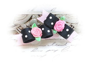 "3/8"" Dog Bow - Black and Pink with White Dots , Pink Ribbon Flower"