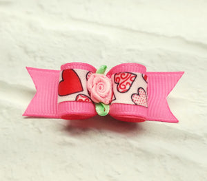 "5/8"" Dog Bow - Pink Valentine Hearts with Pink Ribbon Rose"
