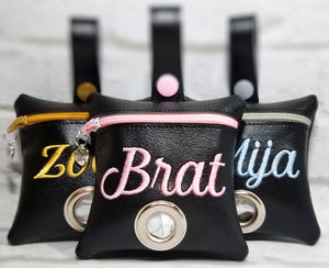 Dog Poop Bag Holder Black Personalized (8 color options)