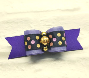 "5/8"" Dog Bow - Navy with Gold Lilac Dots, Gold Beads"