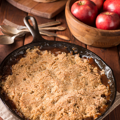 Apple crumble with salted caramel sauce