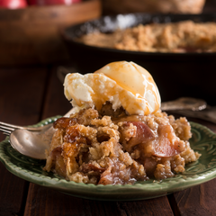 apple crumble and salted caramel sauce