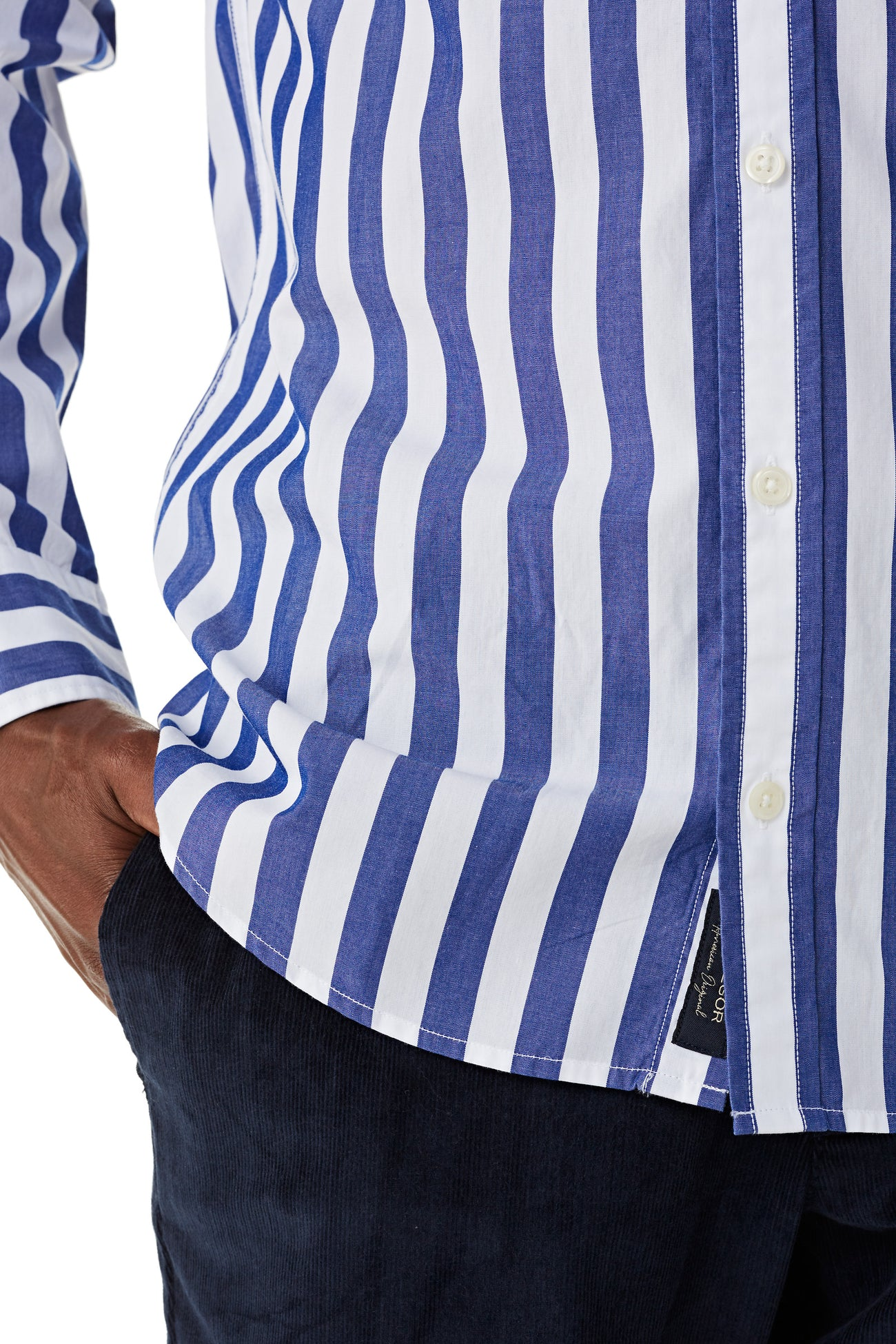 Cotton Shirt with Big Bar Stripe in Regular Fit