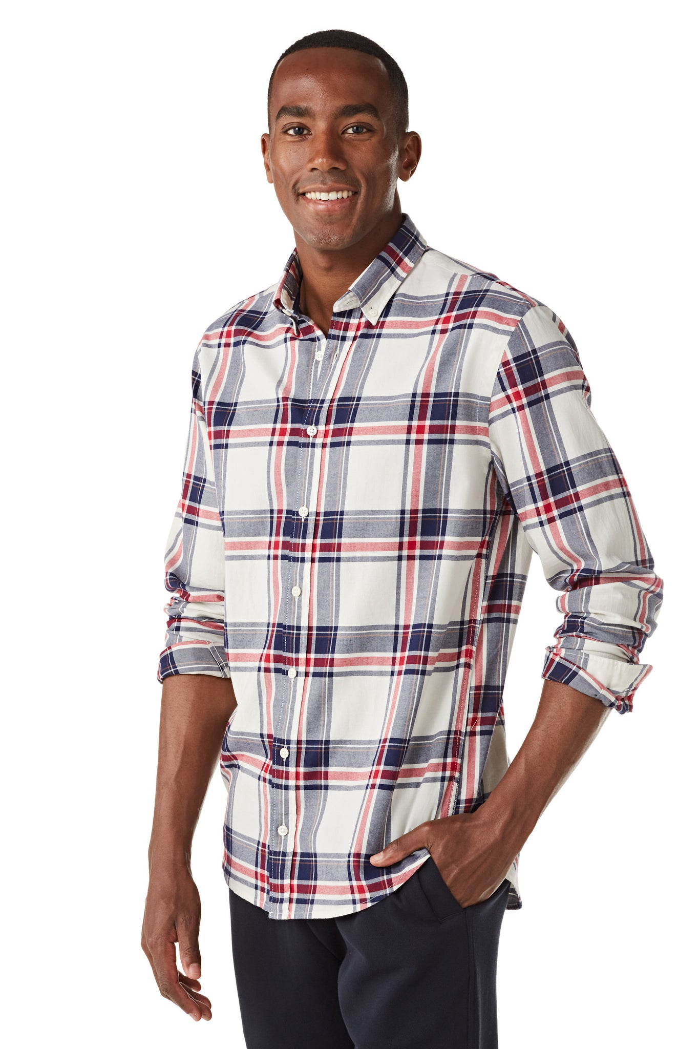 Cotton Shirt in Big Check Regular Fit