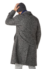 Black Herringbone Wool Coat