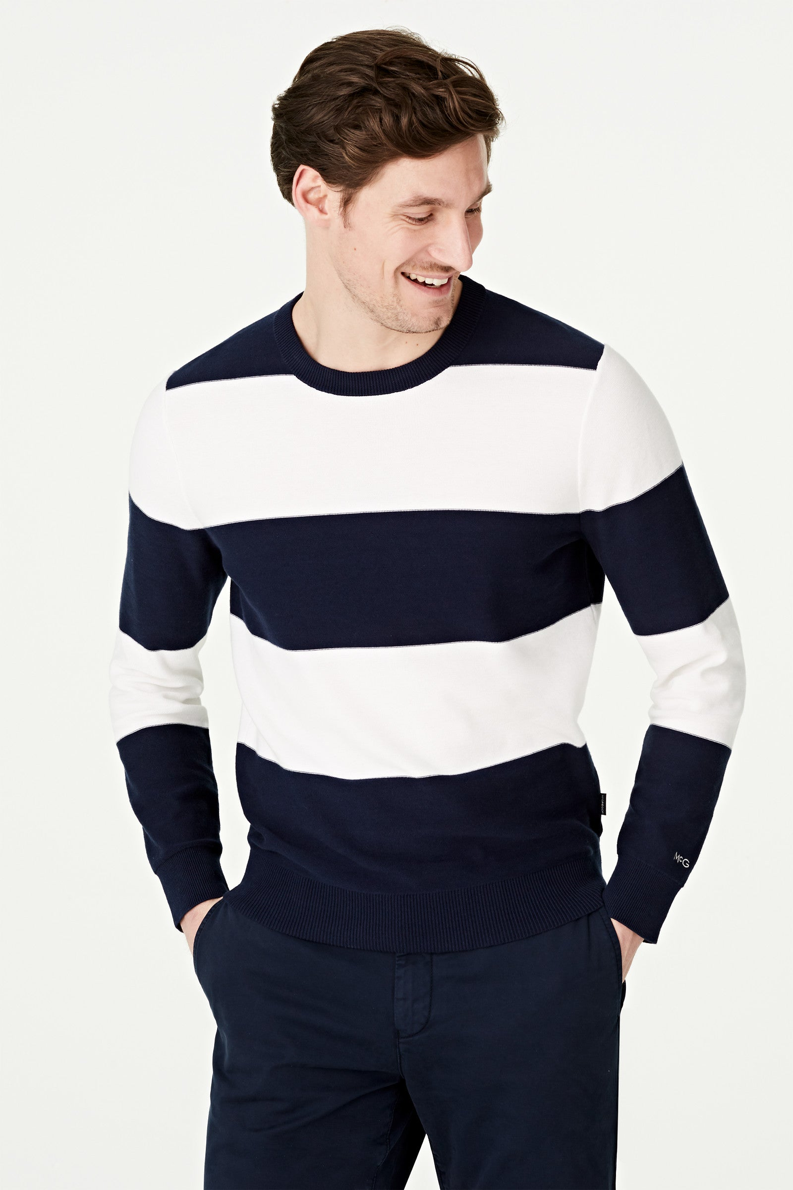 Block Stripe Crew Neck Sweater
