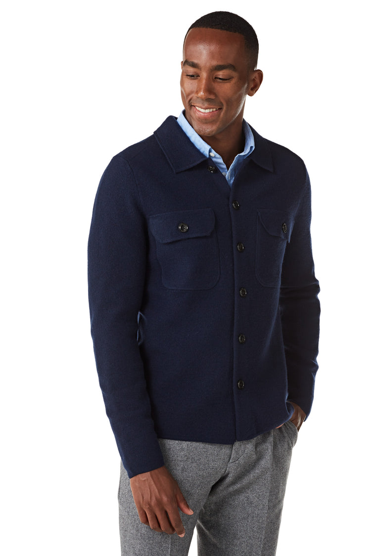 Cardigan with buttons in boiled wool