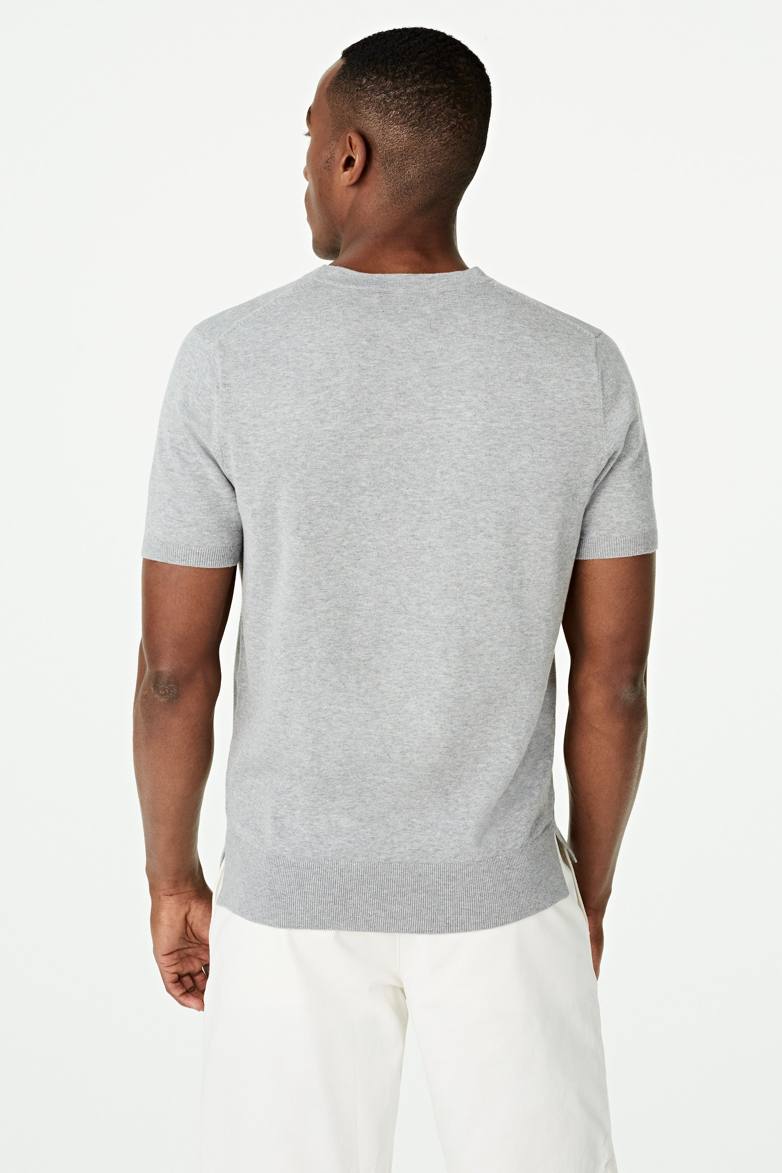 Cotton Crew Neck Sweater Short Sleeve
