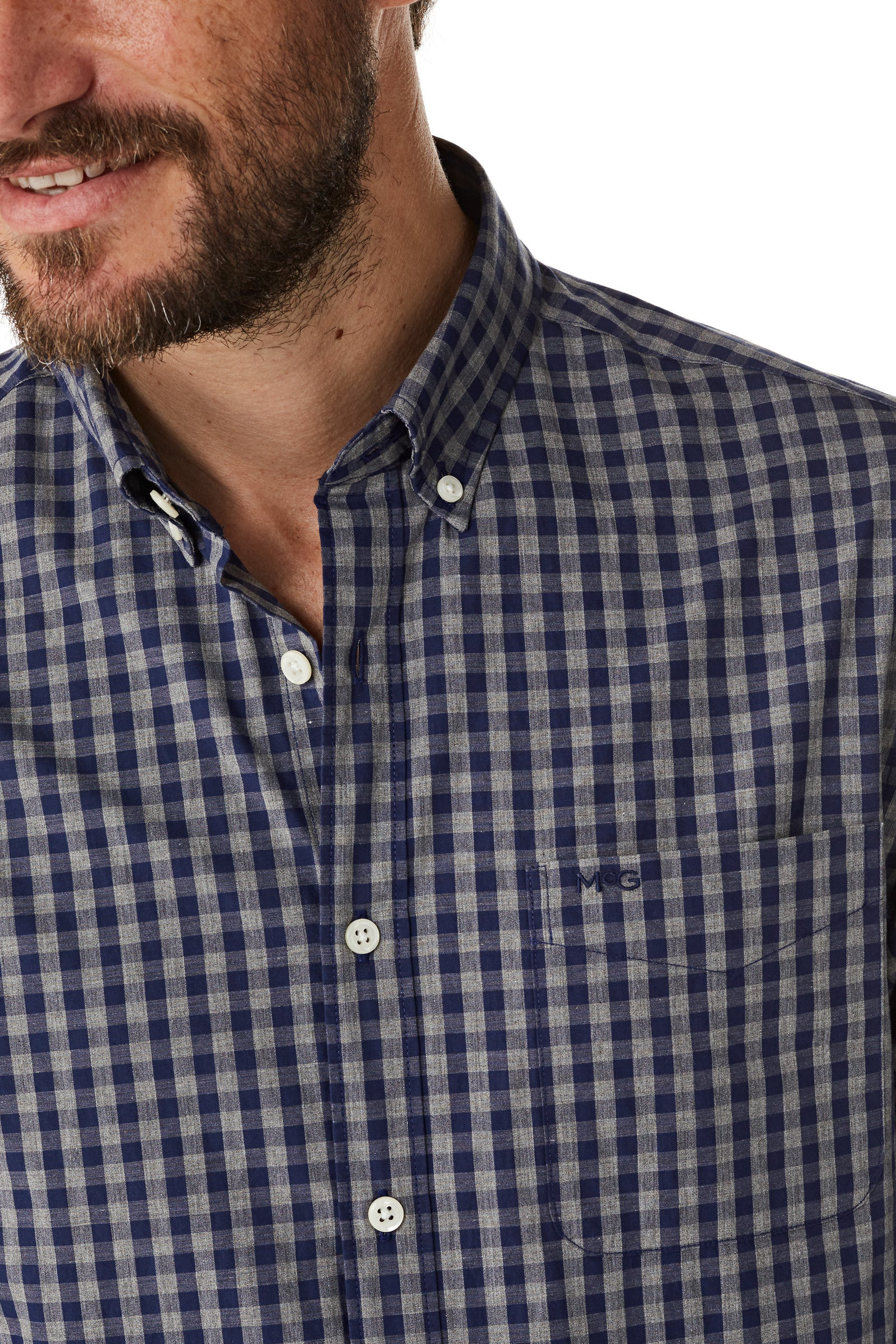 Cotton Shirt with Heather Check Regular Fit
