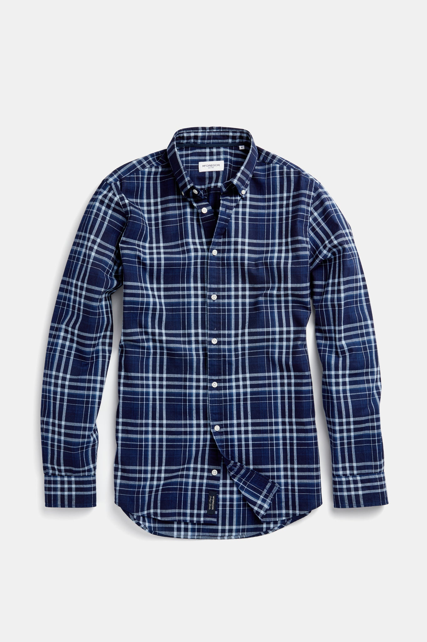 Cotton Shirt in Indigo Check Regular Fit