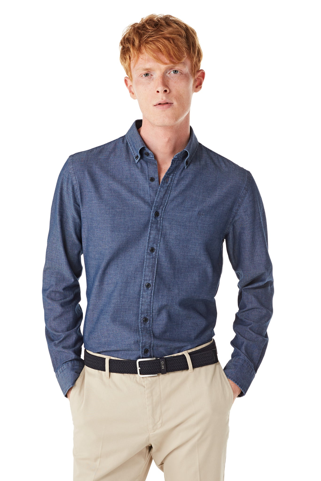 Cotton Indigo Dobby Shirt Regular Fit