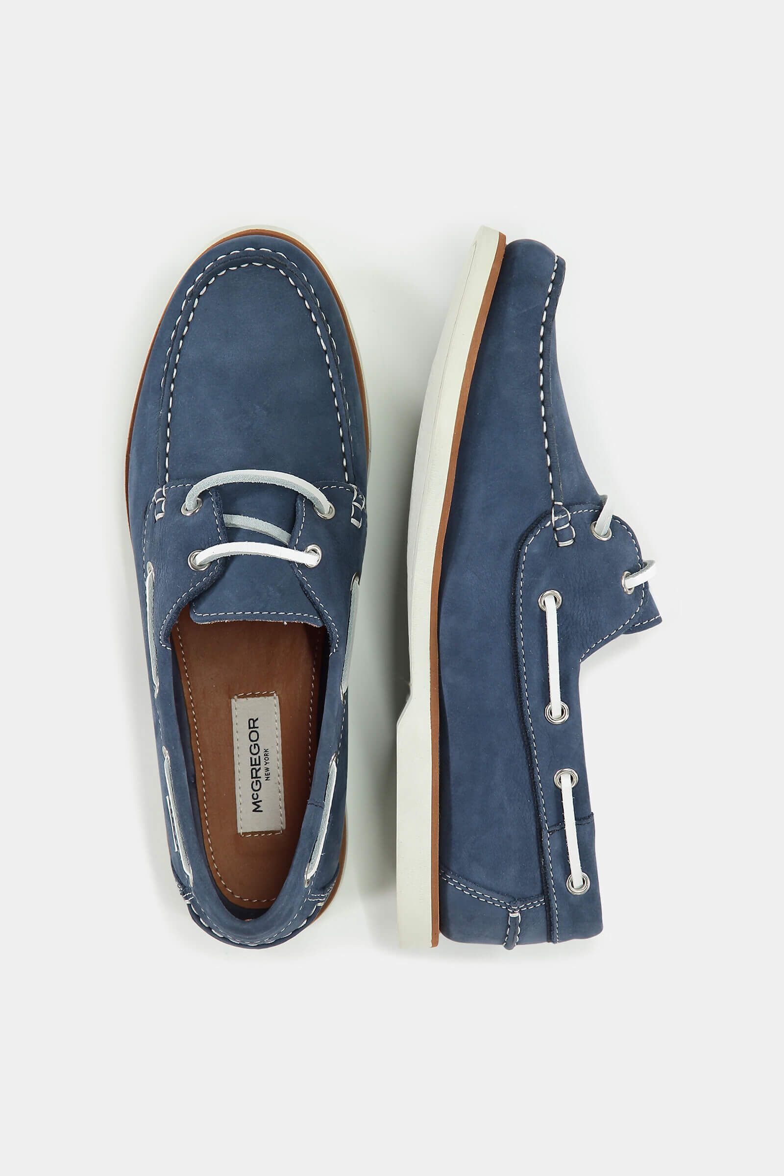 Blue Nubuck leather boat shoes