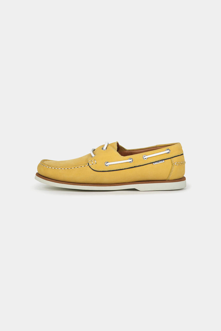 Yellow nubuck boat shoes