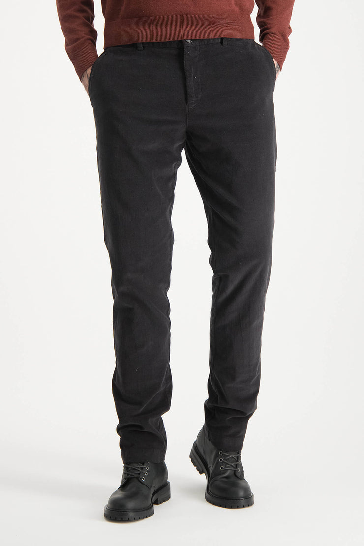 garment dyed slim fit chino with fine cord