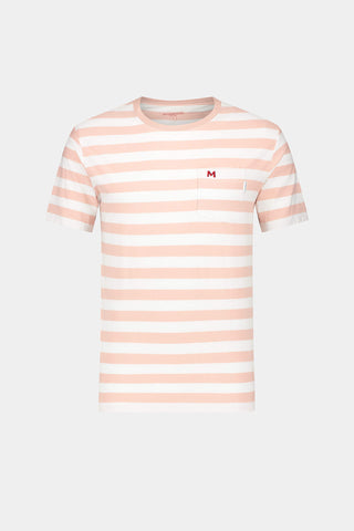 Reverse stripe T-shirt with chest pocket