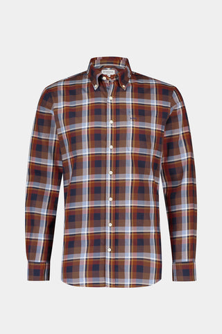Regular fit orange check shirt