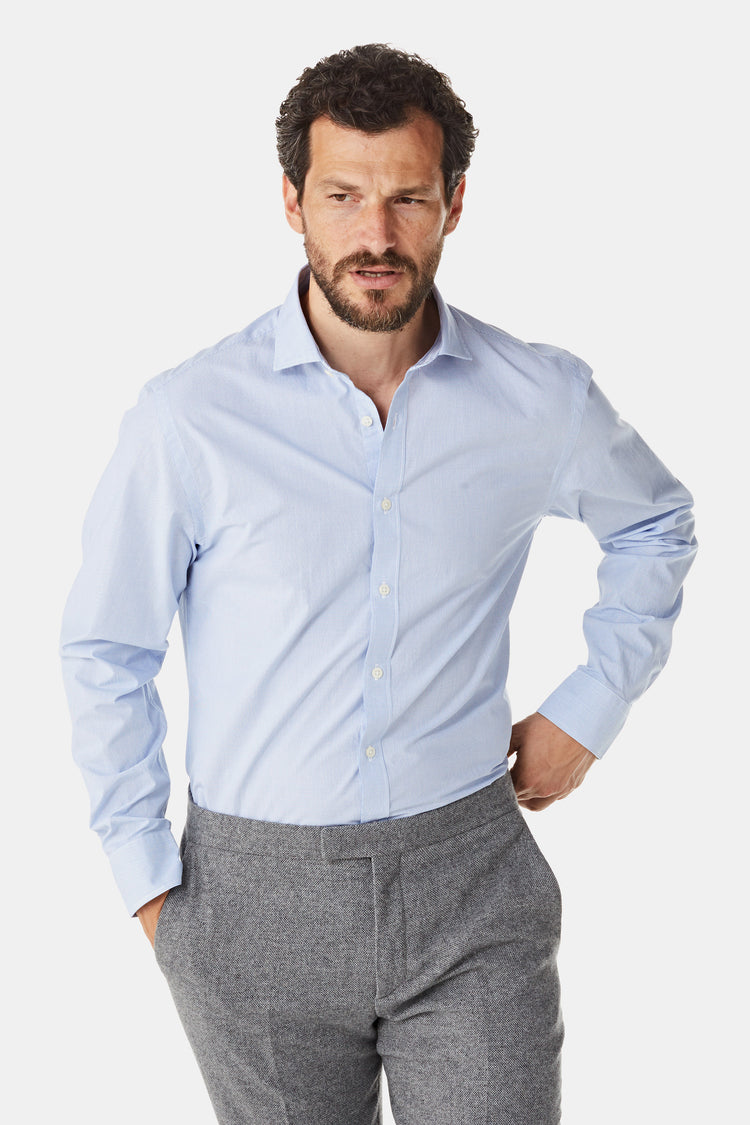 Cotton Shirt with Micro Check Regular Fit