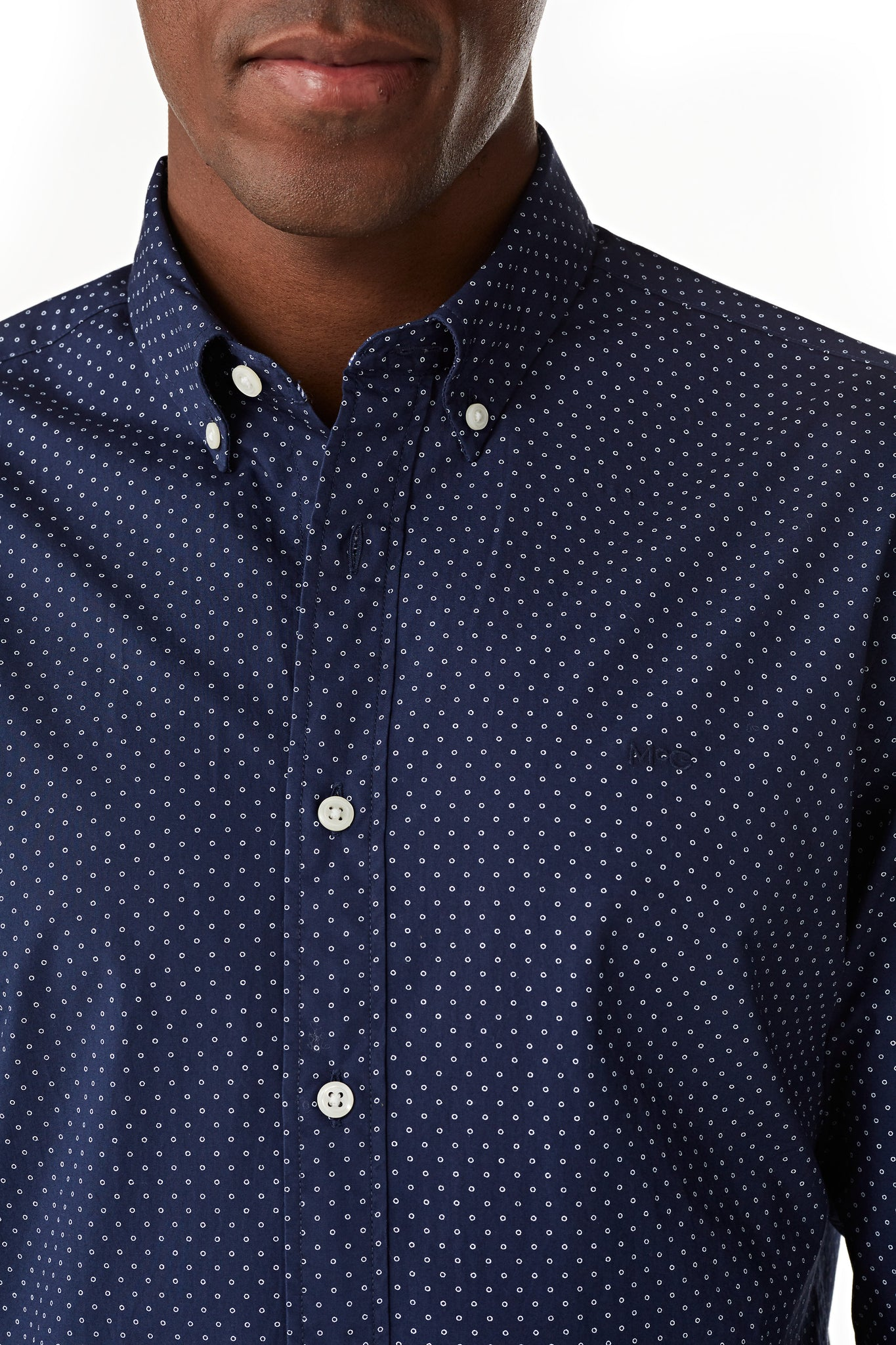 Cotton Shirt with Minimal Dot Print Regular Fit