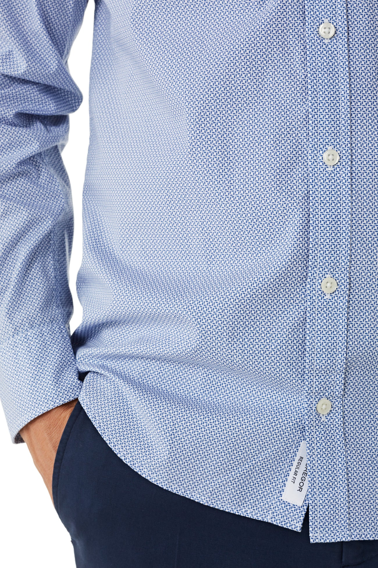 Cotton Shirt with Minimal Print Regular Fit