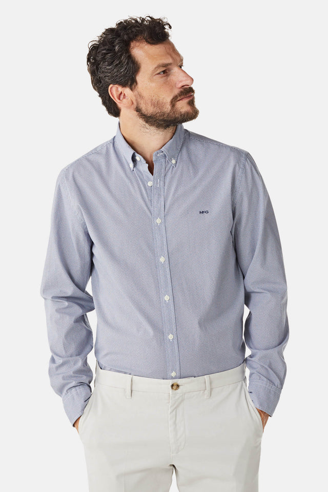 Cotton Shirt with Minimal V Print Regular Fit