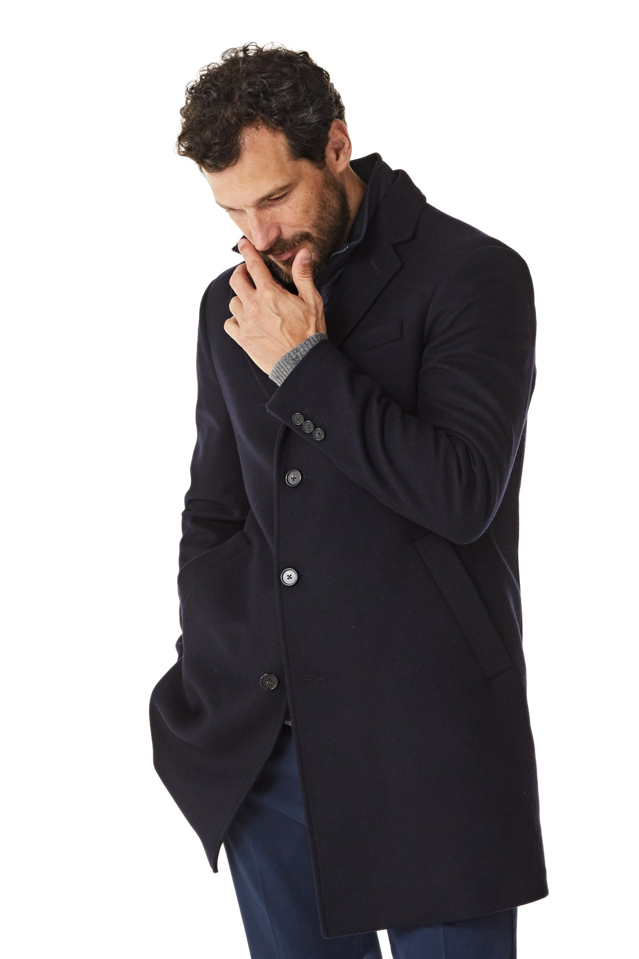 Navy Wool Coat